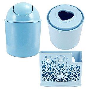 Kit de acessórios para banheiro 3 peças azuis Jacki Design
