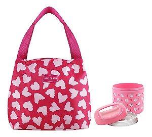 Bolsa Térmica Com Marmita Alça de Mão Rosa Jacki Design