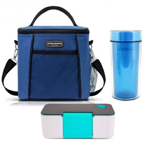Bolsa Térmica Urbano Azul Com Marmita 650 ml e Copo