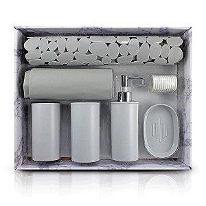 Kit de Banheiro Completo 7 Peças Cozy Cinza Jacki Design