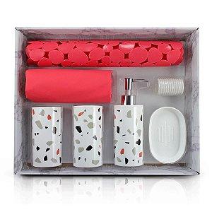 Kit de Banheiro Completo 7 Peças Cozy Vermelho Jacki Design