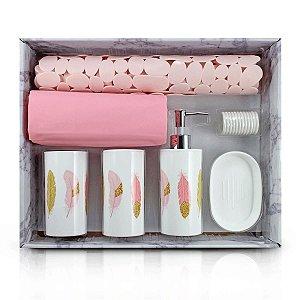 Kit de Banheiro Completo 7 Peças Cozy Rosa Jacki Design
