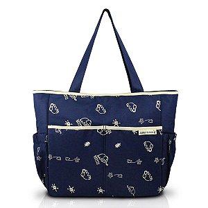 Bolsa De Maternidade Estampada Com Trocador Azul com Bege