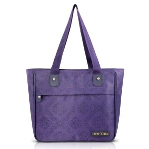 Bolsa Shopper Essencial Damasco Roxa Com Bolso Jacki Design