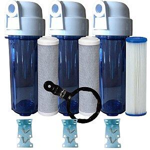 Kit 3 Filtros 1 Lavavel de polipropileno e 2 filtros de Carvão Ativado Todos Com Suporte