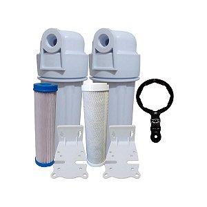 Kit 2 Filtros 1 Lavavel de polipropileno e 1 filtros de Carvão Ativado Todos Com Suporte
