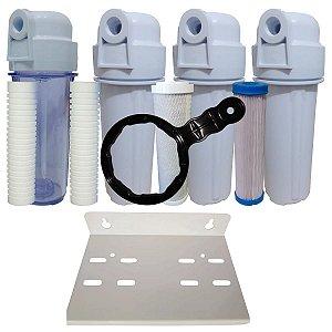 Kit Com 4 filtro, Sendo 1pp 5 micras, 1pp 10 micras 1 carvão ativado 1lavavel 20 micras 1 suporte duplo