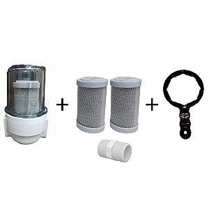 Filtro De Água Para Chuveiro Carvão Ativado+ 2 Refil +chave Remove no Minino 98%
