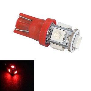 Par de Lâmpadas LED T10 5 Leds torre Vermelho