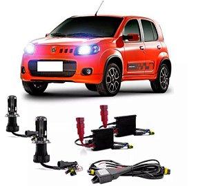 Kit Bi Xenon Fiat Uno 11/15 Farol Baixo e Farol Alto H4/3 6000k