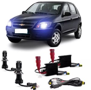 Kit Bi Xenon Chevrolet Celta 06/15 Farol Baixo e Farol Alto H4/3 6000k