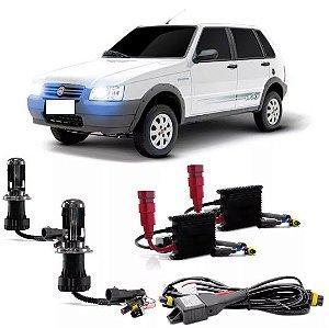 Kit Bi Xenon Fiat Uno 04/12 Farol Baixo E Alto H4/3 6000k