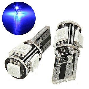 Lâmpadas Pingo T10 Canbus 5 Leds Torre Azul (par)