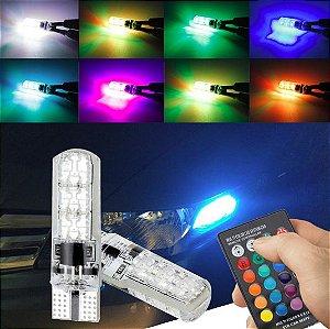 Lâmpadas Pingo Led T10 6 leds w5w com controle 16 cores