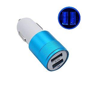 Carregador Adaptador Universal Veicular Dual Usb Azul