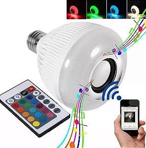Lâmpada Led Musical Bluetooth Com Controle Muda Cor Rgb
