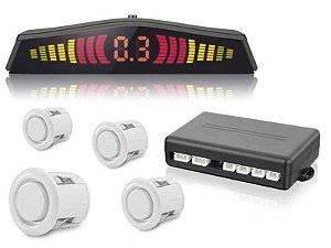 Sensor de Estacionamento Sinal Sonoro com 4 Sensores e Display LED Universal Branco