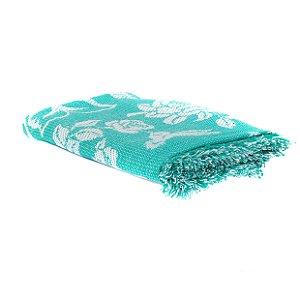 Cobertor Casal King Azul Turquesa com Branco 100% Algodão
