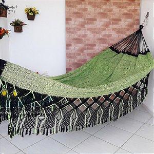 Rede de Dormir Casal Flor do Sertão Preto com Amarelo