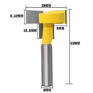 Fresa De Canaleta - Slot T Haste 8mm Corte 29mm
