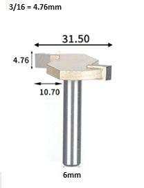 Fresa T Serrinha Debrum Serrinha T Haste 6mm Corte 3/16 ( Perfil T)