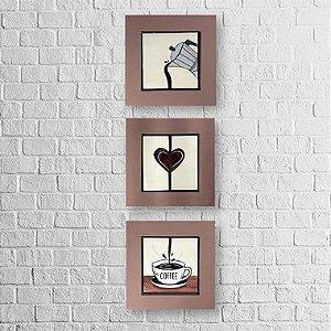 Kit de Quadros Decorativos para Cozinha I Love Coffee 14x14cm