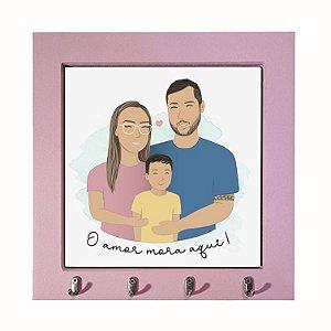 Porta-chaves Personalizado Ilustração da Família