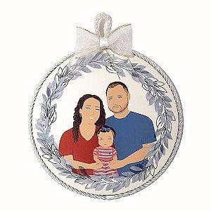 Quadro Redondo Personalizado Ilustração da Família