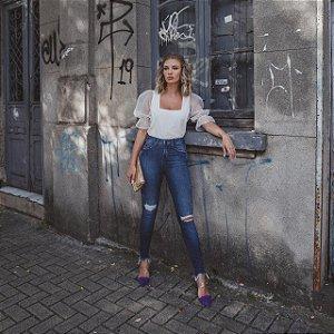 Calça Jeans Feminina Skinny Media Fashion DZ3343