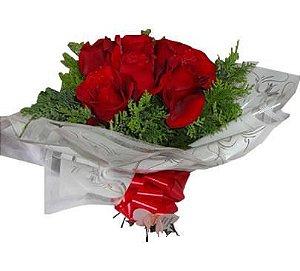 Buquê com 6 Rosas Vermelhas Colombianas