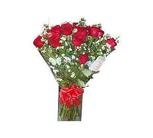 Buquê com 12 Rosas Vermelhas Importadas