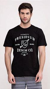 Camiseta Presidium manga curta estampada preto