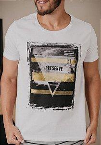 Camiseta Presidium manga curta estampada branca