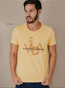 Camiseta Presidium manga curta estampada amarela