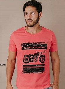 Camiseta Presdiium manga curta estampada vermelha