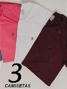 KIT 03 Camisetas Básicas Presidium (cores sortidas)