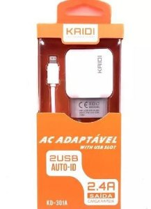 CARREGADOR KAIDI 2USB IPHONE