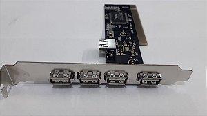 PLACA PCI USB COM 5 PORTAS USB 2.0