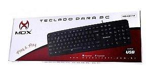 TECLADO PARA PC MO-KB110 SAIDA USB - MOX - PRETO