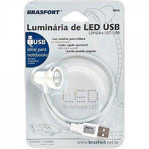 LUMINÁRIA DE LED USB - BRASFORT - 7843 - BRANCO