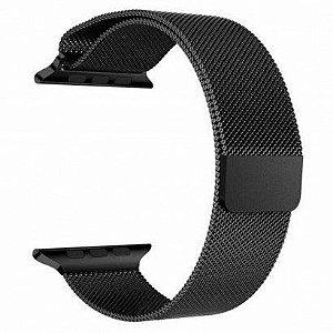 Pulseira Estilo Milanês Magnética Para Apple Watch 42/44mm - Preto