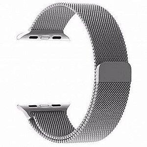 Pulseira Estilo Milanês Magnética Para Apple Watch 42/44mm - Prata