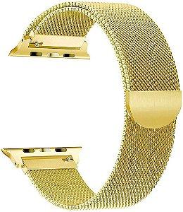 Pulseira Estilo Milanês Magnética Para Apple Watch 38/40mm - Gold