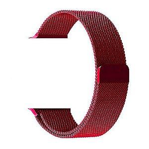 Pulseira Estilo Milanês Magnética Para Apple Watch 42/44mm - Vermelho