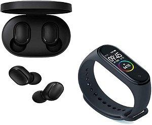 Kit Fone de Ouvido Xiaomi Redmi Airdots Bluetooth + Smartwatch Xiaomi Mi Band 4 Preto + Película grátis