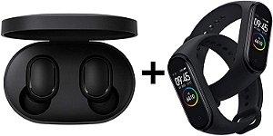 Kit Fone de Ouvido Xiaomi Redmi Airdots Com Bluetooth + 2 Smartwatch Xiaomi Mi Band 4 Oled Preto Original Lacrado