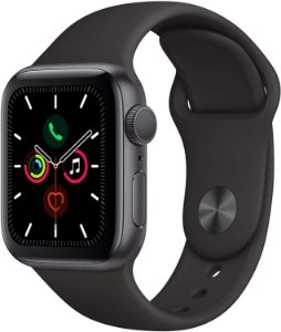 Apple Watch Serie 5 44mm GPS/Caixa de Alumínio Cinza Espacial com Pulseira Esportiva Preto + Película 3D