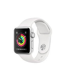 Apple Watch Series 3, GPS, 38 mm, Prata, Pulseira Esportiva + Película 3D