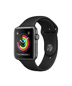 Apple Watch Series 3, GPS, 38 mm, Preto, Pulseira Esportiva + Película 3D