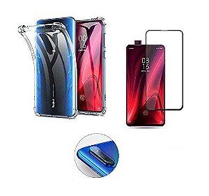 Kit Completo Capa Anti Shock + Película Vidro 3D Xiaomi Mi 9t K20/K20 Pro + Película Lente Câmera